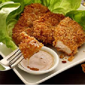 Macadamia-Crusted Chicken with Honey-Mustard Sauce